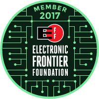 Electronic Frontier Foundation 2017 member badge